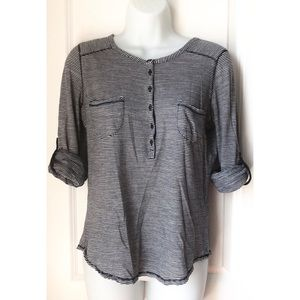 5 FOR $20 - Lucky Brand Navy Stripe Tab Sleeve Top